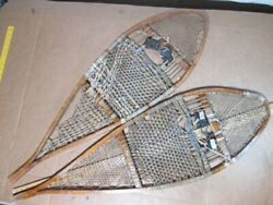 Large Primitive Vintage 14x45 Snowshoes Wooden And Leather Awesome Cabin Decor