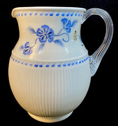 Fenton Art Glass Hand Painted True Blue On Milk Glass Ribbed Pitcher