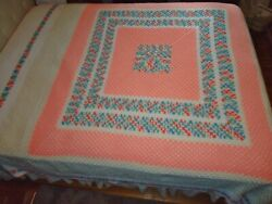 Vintage Hand Crocheted Afghan Bedspread Queen White Peach Green 102x120 Beauty
