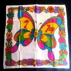 Rare Unused Mint Peter Max X 7up X Seagram Mod Butterfly Scarf 1960s From Japan