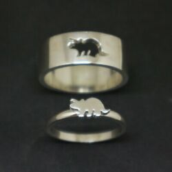 Hippopotamus Couple 925 Sterling Silver Ring For Christmas Nsa138