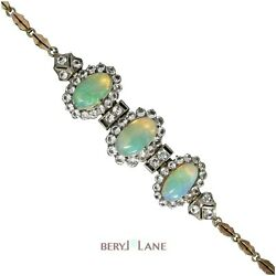 Vintage Art Deco 9ct Gold And Silver Jelly Opal And White Sapphire Bracelet