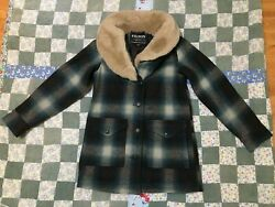 Filson Womenand039s Trapper Coat Wool Xs Xsmall Blue Plaid Shearling Collar Made Usa