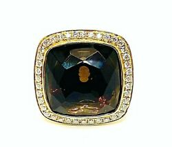 Large Brown Oval Citrine 13.00ct.and Diamonds 2.00ct.y. Gold 18k. Uk Ring Size P
