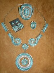 Petit Point Turquoise And Sterling Silver Set - Necklacebraceletringearrings