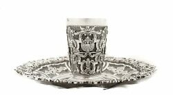 Italian 925 Sterling Silver Handcrafted Shiny Floral Swirl Chased Cup And Tray