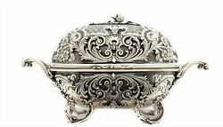 Fine Italian 925 Sterling Silver Handcrafted Chased Ornate Oval Esrog Box