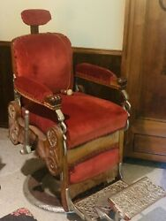 Wood Koken Antique Barber Chair Early 1900s