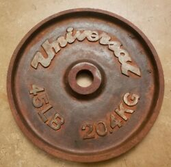 Universal Olympic Barbell Single 45lb Weight Plate Vtg Deep Dish