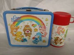 Care Bears 1983 Blue Rainbow Metal Lunchbox W/thermos Vintage