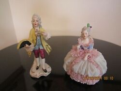 Dresden Lace and Porcelain Pair Male and Woman Vintage Figurines