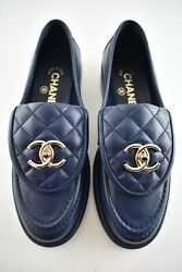 21b Blue Quilted Flap Turnlock Cc Logo Gold Mule Slip On Flat Loafer 35