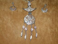 Articulated Pendant/pin With Earringspair -- Sterling Silver And Pink Mop