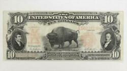1901 10 Legal Tender Note Bison S/n E5622119 Circulated Very Fine