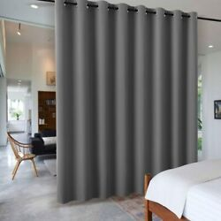 RYB HOME Gray Blackout Room Divider Curtain Large Wall W 15 x L 9 ft Grey