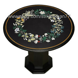 Vintage Coffee Table Round Marble Inlay Top With Pedestal Home Decor Furniture