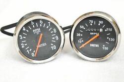 Fit For Royal Enfield Black Smith Replica Speedometer Tachometer Pair 150 Mph