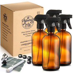 Empty Amber Glass Spray Bottles - 2 Pack 16 Oz With Labels Refillable Containe