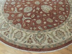 8x8 Round Pakistani Peshawar Area Rug Wool Hand-knotted Brown/rust Teal Green