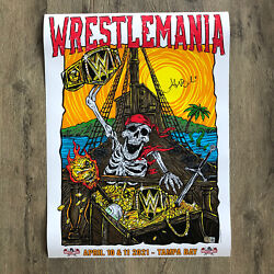 """Alexa Bliss Signed Autograph Wrestlemania 2021 Poster Wwe 18x24"""" Bas Witnessed"""