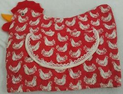 Vintage Toaster Appliance Red White Cover Lace Rooster Chicken Hen Flap Handmade