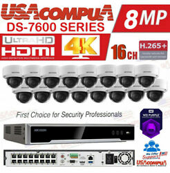 Hikvision Ip Security System Kit 16 Ch 16 Poe 16 Cameras 4tb Wd 4mp Poe H265+