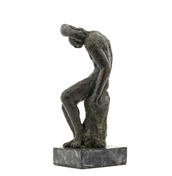 Vintage Bronze Figural Signed Sculpture Of Seated Man - The Thinker