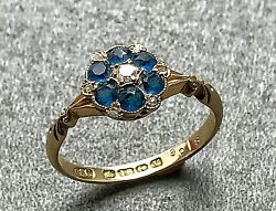 An Antique English Diamond And Sapphire 18k Gold Ring Sz 6.5 Jewelry
