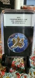 2013 25th Anniversary Canadian Maple Leaf 24k Gold Gilded .999 Silver 1 Ounce