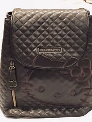 Hello Kitty Sanrio Brown Quilted Leather Backpack W/pockets, Chain Straps Nwt