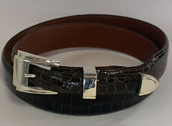 Sterling Silver .925 4 Piece Buckle Set With Belt 1 1/4 Inch Tapered To 3/4 Inch