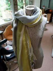 Nwt Eileen Fisher Cotton Linen Scarf In Pineneedle Made In Italy Sample Piece