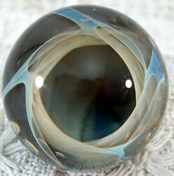 Artist Made Glass Vortex Marble Signed Bam And03906 Size 1 13/16 In Diameter