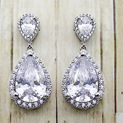 Pear Halo Dangle Drop Wedding Earrings Good Quality Bridesmaid Sterling Silver