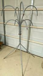 Vintage Tall Metal Curved Arm/hooks Outdoor Plant Stand Holder