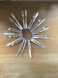 Mappin And Webb Solid Silver Set Of 12 Rat Tail Pattern Fish Knives And Forks 1997