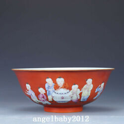8 Antique Chinese Porcelain Qing Dynasty Gilt Famille Rose Children Play Bowl
