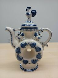 Russian Porcelain Gzhel Blue And White Colorandnbsp Shtof/flask/decanter Bottle With Lid