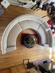 Midcentury Modern Furniture -contemporary 1/2 Round Off White 3 Pc Sofa, Sect