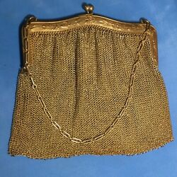 Antique Whiting And Davis 925 Sterling Silver Mesh Chain Floral Coin Purse 220g