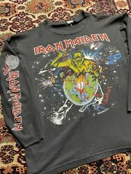 Vtg Iron Maiden 1983 World Piece Tour Double Sided Long Sleeve Graphic Shirt