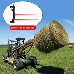 Cat 1 3 Point Attachment 2x 49 Hay Bale Spears 3000 Lb Capacity Tractor Trailer