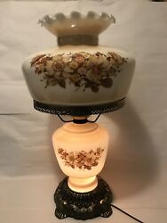 Vintage 1972 Ef And Ef Gone With Wind Lamp Milk Glass 3-way W Lower Nite Light 22