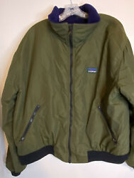 Ll Bean Vintage Bomber Jacket Green Purple Fleece Lined Usa Menand039s Size Large