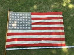 Vintage 1940's Cloth American Flag On Wooden Pole Great Patina 45 X 30 48 Star