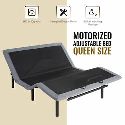 Adjustable Queen Bed Base W/ Remote Control Usb Charging Station And Massage
