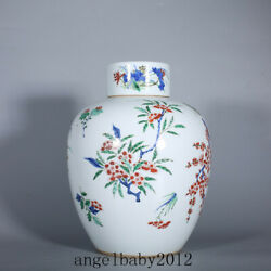 11 Antique Chinese Porcelain Qing Dynasty Wucai Flower Bamboo Covered Jar Pot