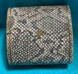 Antique Vintage Gold Crown On Snake Leather Like Display Jewelry Box Case