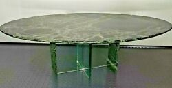Modernist Architectural Mcm Marble And Glass Oval Coffee Table Contact Shipping