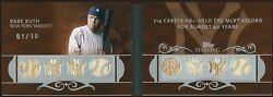 2008 Topps Sterling Baseball Babe Ruth Yankees 8 Piece Booklet Jersey And Bat /10